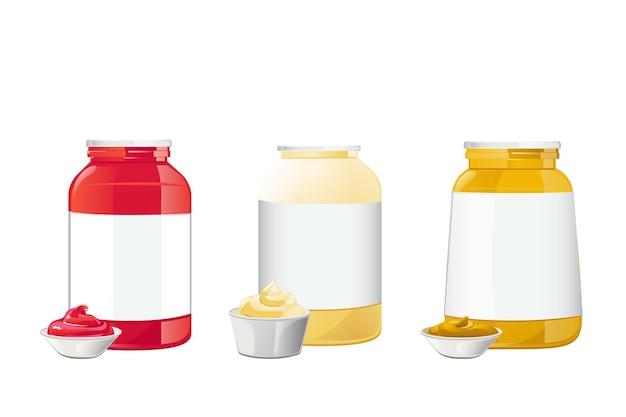 Molhos de mostarda e maionese de ketchup em potes com ilustração vetorial realista isolada