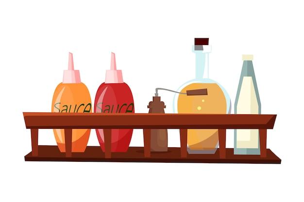 Molhos e especiarias, diferentes ingredientes culinários na prateleira de madeira.