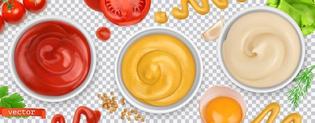 Molhos. ketchup, mostarda, maionese. conjunto realista 3d