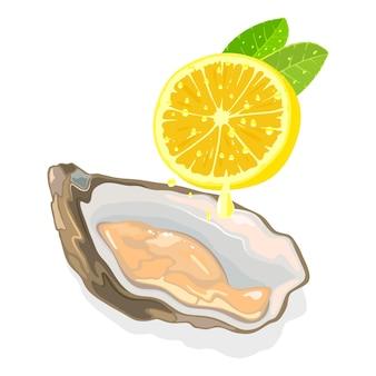 Moluscos frescos crus com casca com metade de limão e frutos do mar com gotas de limão