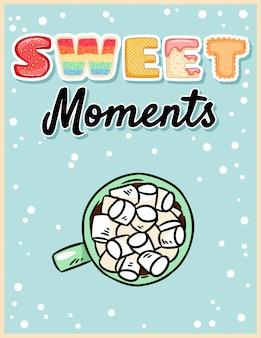 Momentos doces chocolate quente de cacau com poster saboroso de marshmallow