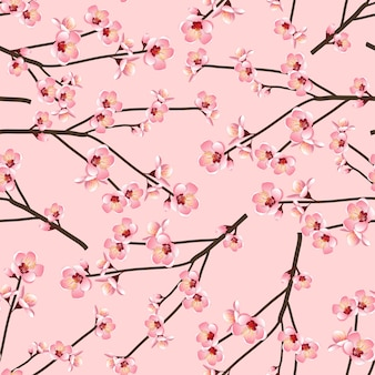 Momo flor de pêssego flor sem emenda no fundo rosa