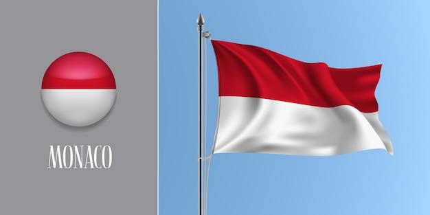 Mônaco acenando a bandeira no mastro e o ícone redondo, maquete da bandeira vermelha e branca de monaco e o botão do círculo
