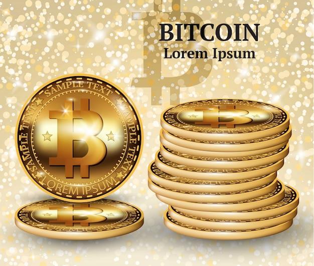 Monedas de criptografia de bitcoína realistas em vetor