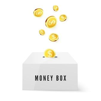 Money box e moedas de ouro