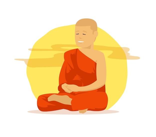 Monge budista com túnicas laranja fazendo meditação