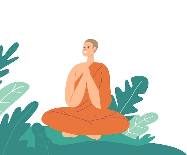 Monge do budismo sentado na postura de lótus, vestindo um manto laranja, orando ou meditando ao ar livre. meditação de caráter budista, estilo de vida religioso, orações de monge asiático. ilustração em vetor desenho animado