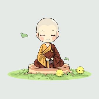 Monge fofo meditando ilustração artística