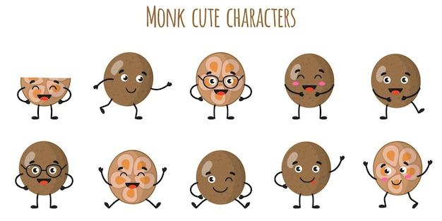 Monge fruta fofos personagens engraçados e alegres com diferentes poses e emoções