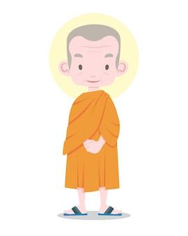 Monge tailandês sênior em estilo simples, graciosamente em pé, ilustração dos desenhos animados