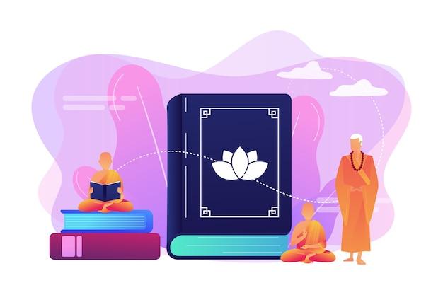 Monges budistas em mantos laranja meditando e lendo, gente minúscula. zen budismo, local de culto do budismo, conceito de livro sagrado budista.