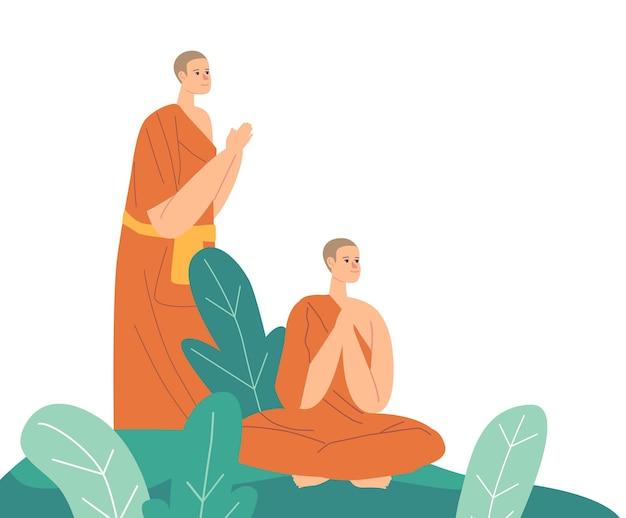 Monges do budismo vestindo túnicas laranja orando ou meditando ao ar livre. meditação de personagens budistas, estilo de vida religioso