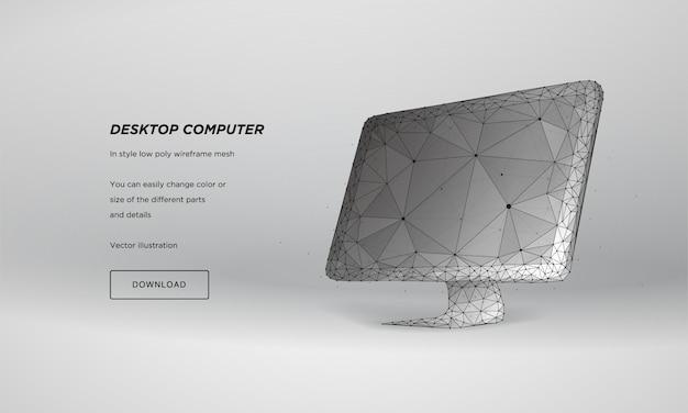 Monitor 3d abstrato, estrutura de arame baixa poli