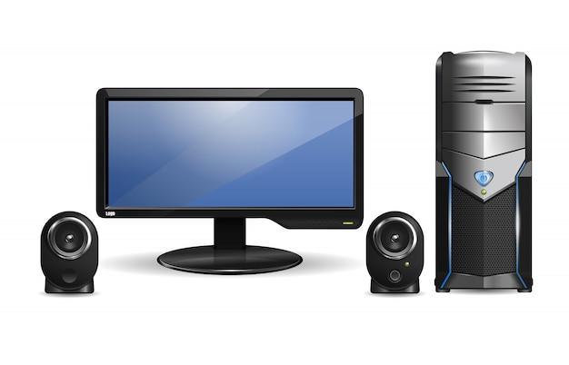 Monitor com alto-falantes e unidade de sistema de computador.