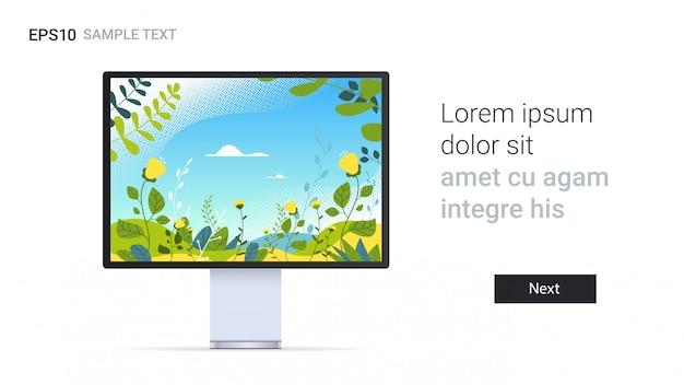 Monitor com papel de parede bela paisagem na tela isolada em dispositivos de maquete realista de parede branca