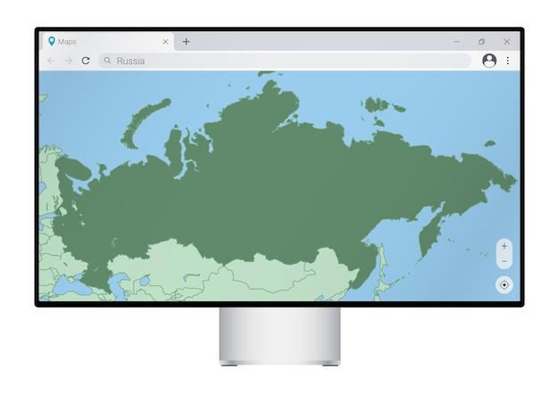 Monitor de computador com mapa da rússia no navegador, pesquise o país da rússia no programa de mapeamento da web.