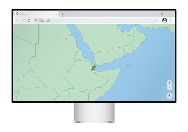 Monitor de computador com mapa de djibouti no navegador, pesquise o país de djibouti no programa de mapeamento da web.