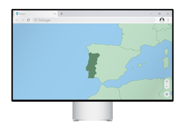 Monitor de computador com mapa de portugal no navegador, pesquise o país de portugal no programa de mapeamento web.