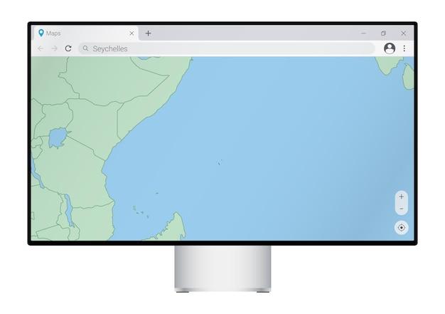 Monitor de computador com mapa de seychelles no navegador, pesquise o país de seychelles no programa de mapeamento da web.