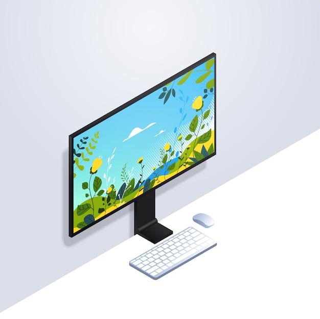 Monitor de computador desktop com conceito de gadgets e dispositivos de maquete realista de teclado e mouse