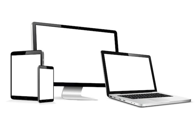 Monitor de computador moderno, laptop, tablet digital e telefone celular com tela em branco