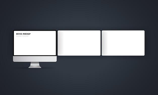 Monitor de computador prateado com uma tela vazia e páginas da web para wireframes vazias