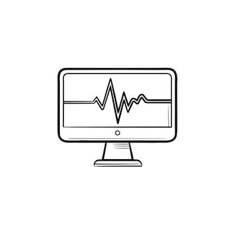 Monitor de ecg com ícone de esboço desenhado à mão de batimento cardíaco