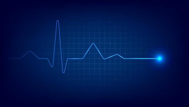 Monitor de pulsação cardíaca azul com sinal. fundo de eletrocardiograma de batimento cardíaco.