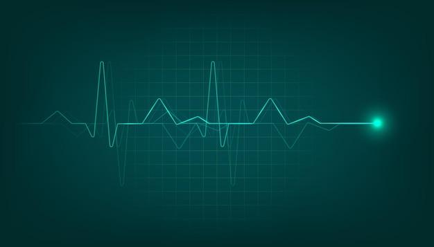Monitor de pulsação cardíaca verde com sinal. fundo de eletrocardiograma de batimento cardíaco.