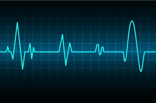 Monitor de pulso de coração azul com sinal. ícone de batida de coração. ekg