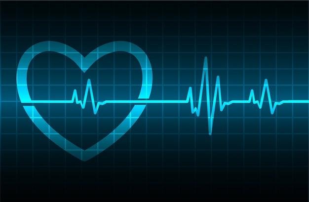 Monitor de pulso de coração azul com sinal