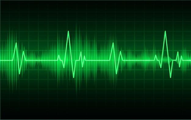 Monitor de pulso de coração verde com sinal. batimento cardiaco. onda de ícone ekg
