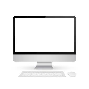 Monitor de simulação com tela em branco.