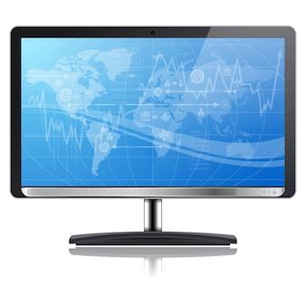 Monitor de tv de tela azul