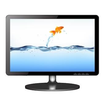 Monitor de tv lsd com peixes dourados pulando isolados