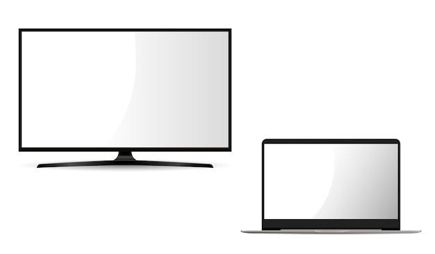 Monitor e laptop. conjunto plano.