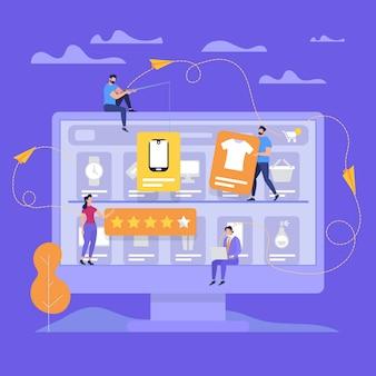 Monitor enorme com as pessoas fazem compras on-line.