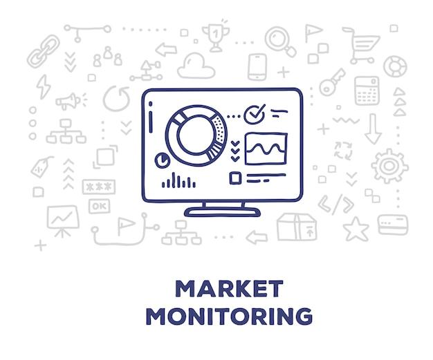 Monitor grande com ícones de gráfico e linha de gráfico