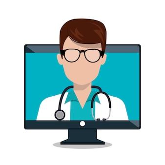 Monitor médico estetoscópio consulta on-line isolado