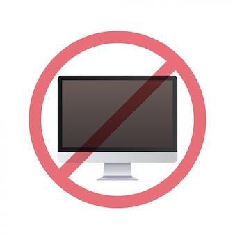 Monitor no conceito de desintoxicação digital de sinal de proibição não use computador