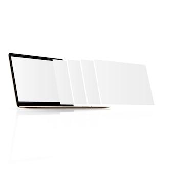 Monitor portátil com tela em branco e páginas da web em branco