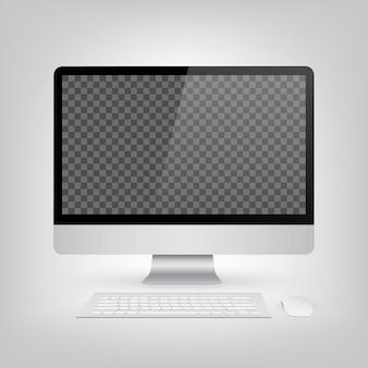Monitor simulado acima com tela em branco.