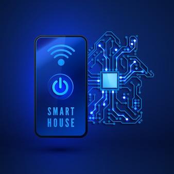 Monitoramento remoto e controle de casa inteligente do smartphone