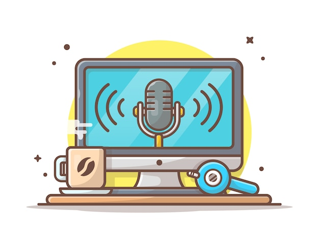 Monitorar com alto-falante, café quente e ícone de fone de ouvido. podcast fala branco isolado