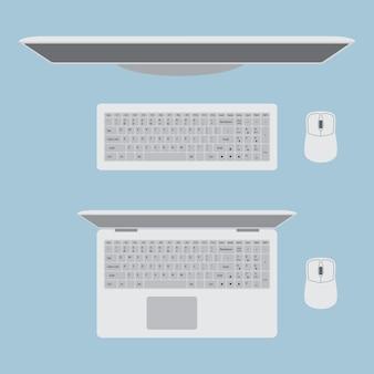 Monitorar com teclado e mouse. laptop com mouse. vista superior no local de trabalho.