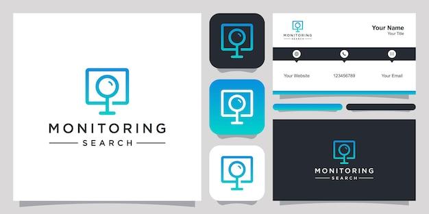 Monitorar pesquisa logo ícone símbolo modelo logotipo e cartão de visita