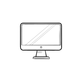 Monitore o ícone de esboço desenhado de mão. visor de computador, pc e área de trabalho, conceito de equipamento de escritório. ilustração de desenho vetorial para impressão, web, mobile e infográficos em fundo branco.