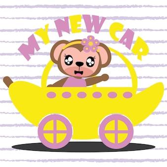 Monkey girl drives banana car vector cartoon background