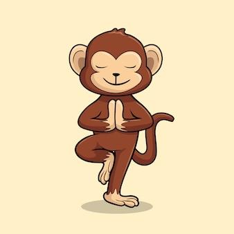 Monkey yoga cartoon chimp vrikshasana pose tree