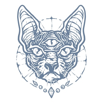 Monocromático black sphinx cat